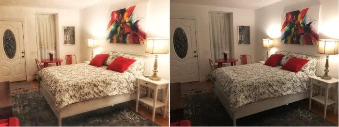 Avant et après les photos d'Airbnb Snapseed