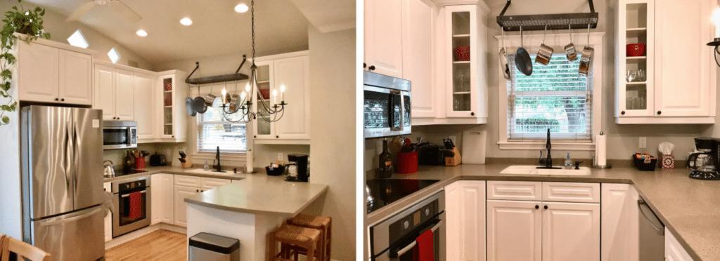 Photo de cuisine avec lentille large avant et après